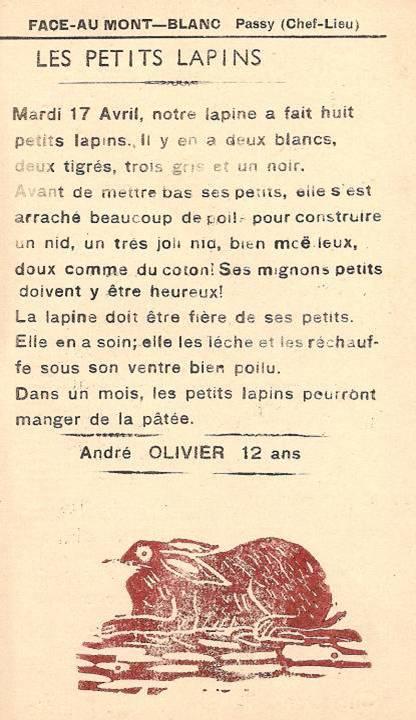 Journal scolaire de Passy « Face au Mont-Blanc », mars 1951, p. 3 Les petits lapins, par André Olivier, 12 ans