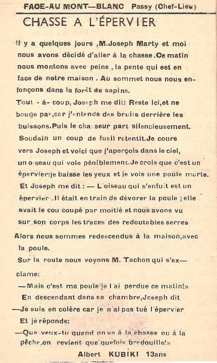Journal scolaire de Passy « Face au Mont-Blanc », mars 1951 p. 6 Chasse à l'épervier, par Albert Kubiki, 13 ans