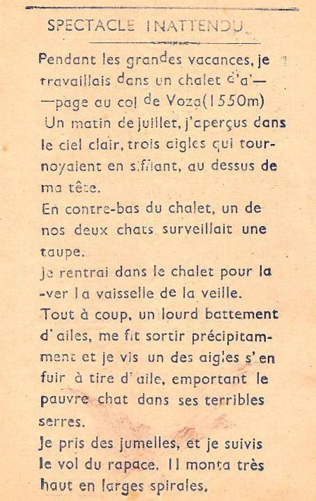 Journal scolaire de Passy-Chedde « La grande Chute », octobre-novembre- décembre 1951, p. 3, Spectacle inattendu, par Vital Favre, 14 ans
