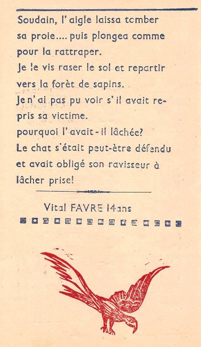 Journal scolaire de Passy-Chedde « La grande Chute », octobre-novembre- décembre 1951, p. 4, Spectacle inattendu, par Vital Favre, 14 ans