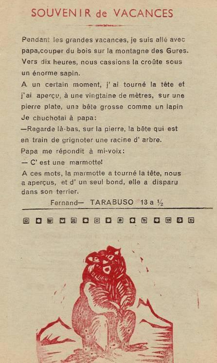 Journal scolaire de Passy-Chedde, « La grande Chute »,  octobre-novembre- décembre 1951, p. 5 Souvenir de vacances, par Fernand Tarabuso, 13 ans ½