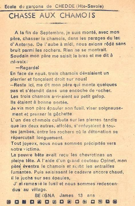 Journal scolaire de Passy-Chedde « La grande Chute », Octobre-novembre- décembre 1951, p. 9 Chasse aux chamois, par James Bergna, 13 ans (au col d'Anterne, fin septembre)