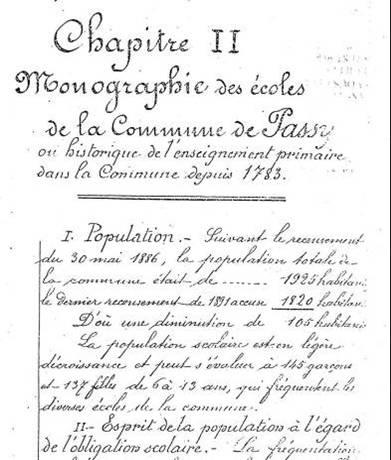 Fac-similé d'un extrait de la page 7, Chapitre II Monographie des écoles de la commune de Passy, 1892