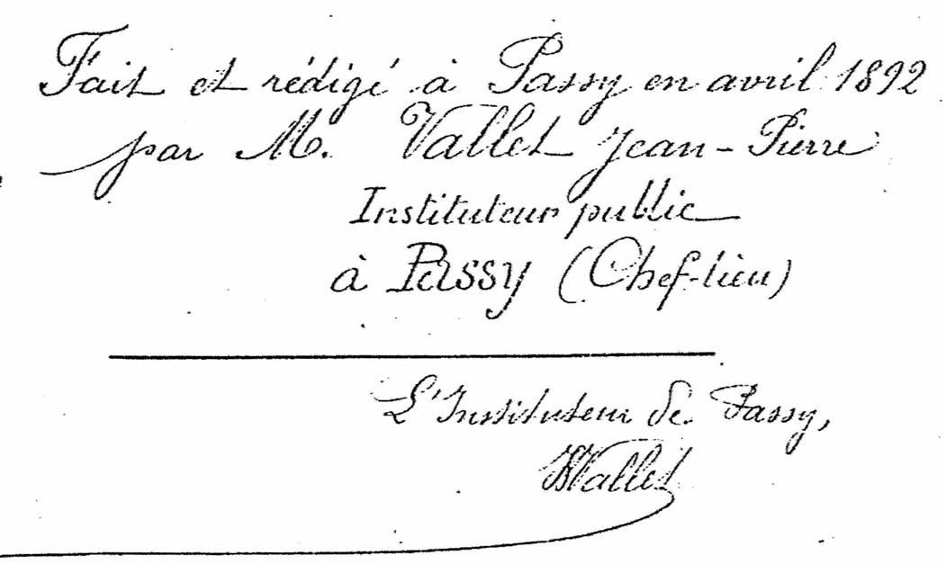 Monographie de Passy, par J. P. Vallet, 1892, fac-similé d'un extrait de la page 33