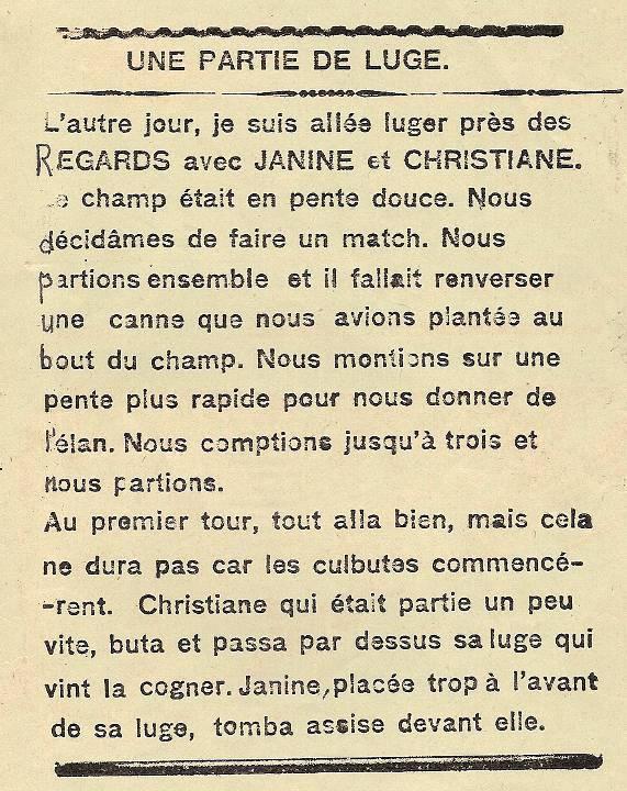 Journal scolaire de Passy, « Face au Mont-Blanc », Janvier 1937, p. 2, Une partie de luge, texte de Denise Choisnet, 11 ans, dessin d'A. Jaccoux et linogravure de L. Paget