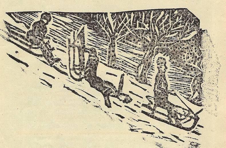 Linogravure du journal scolaire de Passy, « Face au Mont-Blanc », janvier 1937, dessin d'A. Jaccoux et linogravure de L. Paget