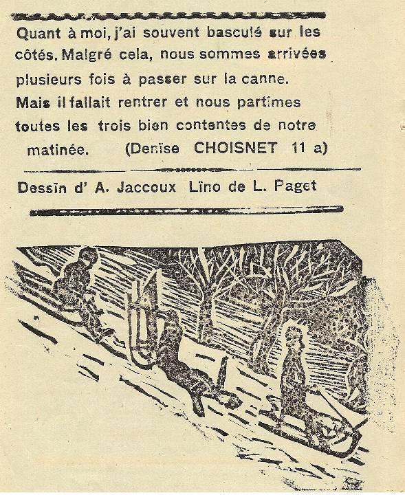 Journal scolaire de Passy, « Face au Mont-Blanc », janvier 1937, p. 3 Une partie de luge, texte de Denise Choisnet, 11 ans, dessin d'A. Jaccoux et linogravure de L. Paget