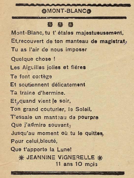 Journal scolaire de Passy, « Face au Mont-Blanc », avril 1937, p. 4, Mont-Blanc, par Jeannine Vignerelle, 11ans 10 mois, republié en février-mars 1939, p. 10