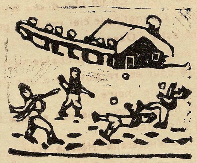 Linogravure du journal scolaire de Passy, « Face au Mont-Blanc », décembre 1937