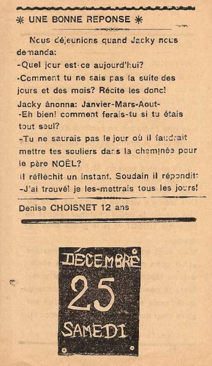 Journal scolaire de Passy, « Face au Mont-Blanc », décembre 1937, p. 2, Une bonne réponse