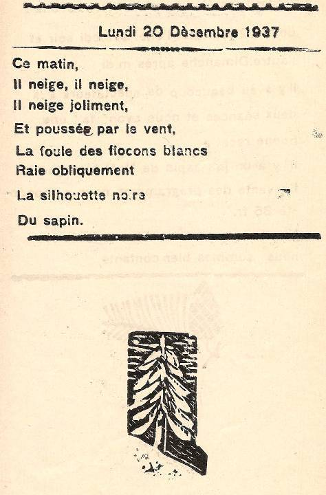 Journal scolaire de Passy, « Face au Mont-Blanc », décembre 1937, p. 5 Poème sur la neige, 20 décembre 1937