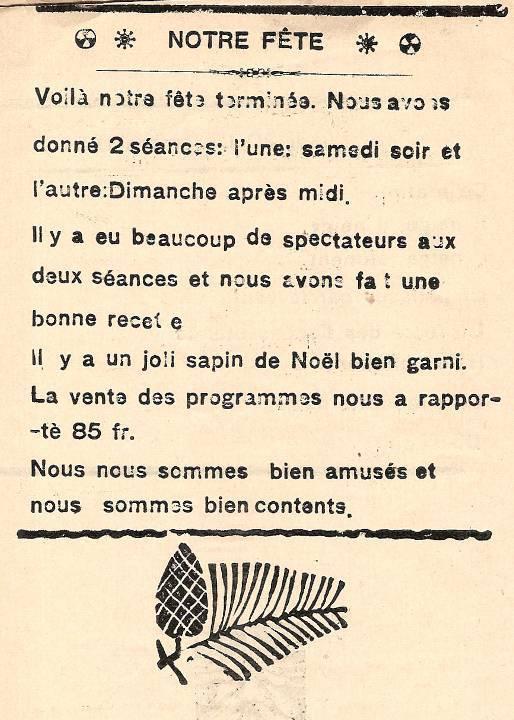 Journal scolaire de Passy, « Face au Mont-Blanc », décembre 1937, p. 6 Notre fête