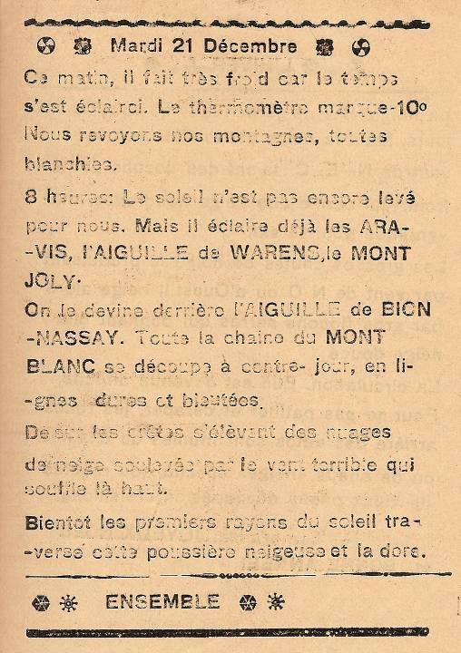 Journal scolaire de Passy, « Face au Mont-Blanc », décembre 1937, p. 7, texte collectif
