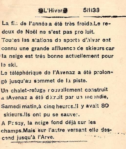 Journal scolaire de Passy, « Face au Mont-Blanc », janvier 1938, p. 1