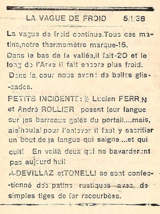 Journal scolaire de Passy, « Face au Mont-Blanc », janvier 1938, p. 2