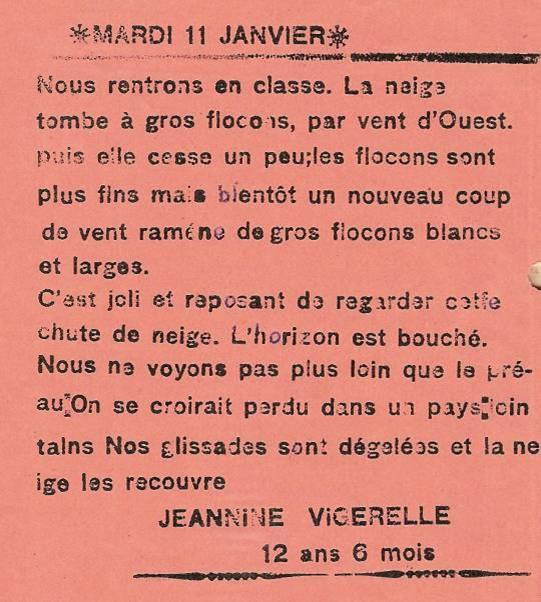 Journal scolaire de Passy, « Face au Mont-Blanc », janvier 1938, p. 4 Mardi 11 janvier, par Jeannine Vigerelle, 12 ans 6 mois