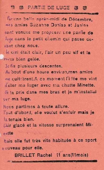 Journal scolaire de Passy, « Face au Mont-Blanc », janvier 1938, p. 5, Partie de luge, par Rachel Brillet, 11 ans 11 mois