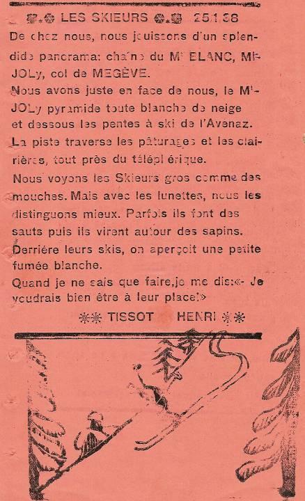 Journal scolaire de Passy, « Face au Mont-Blanc », janvier 1938, p. 6 Les skieurs, par Henri Tissot