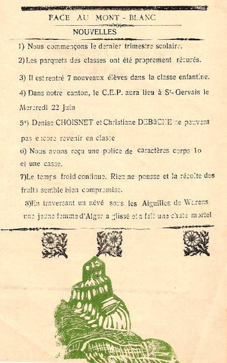 Journal scolaire de Passy, « Face au Mont-Blanc », avril-mai 1938, p. 1