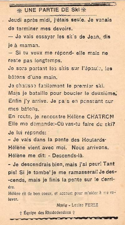 Journal scolaire de Passy, « Face au Mont-Blanc », février-mars 1939, p. 1 Une partie de ski, par Marie-Louise Ferez