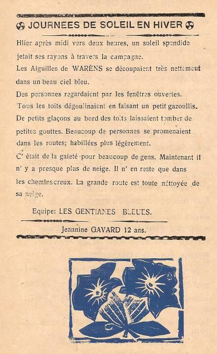 Journal scolaire de Passy, « Face au Mont-Blanc », février-mars 1939 p. 2 Journées de soleil en hiver, par Jeannine Gavard, 12 ans