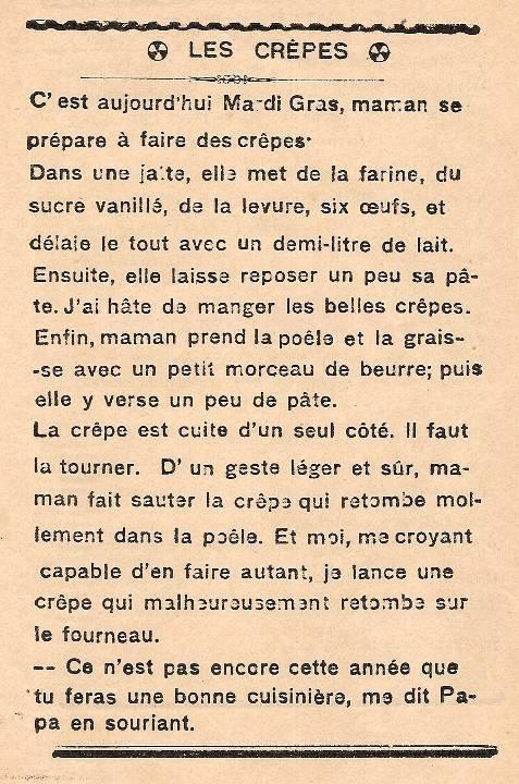 Journal scolaire de Passy, « Face au Mont-Blanc », février-mars 1939 p. 3 Les crêpes