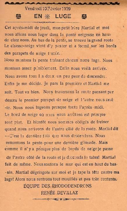 Journal scolaire de Passy, « Face au Mont-Blanc », février-mars 1939 p. 6 En luge, par Renée Devillaz