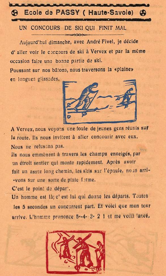 Journal scolaire de Passy, « Face au Mont-Blanc », février-mars 1939, p. 8, Un concours de ski qui finit mal, par Jean Gavard, 12 ans, illust. Michel Guilbert, 12 ans