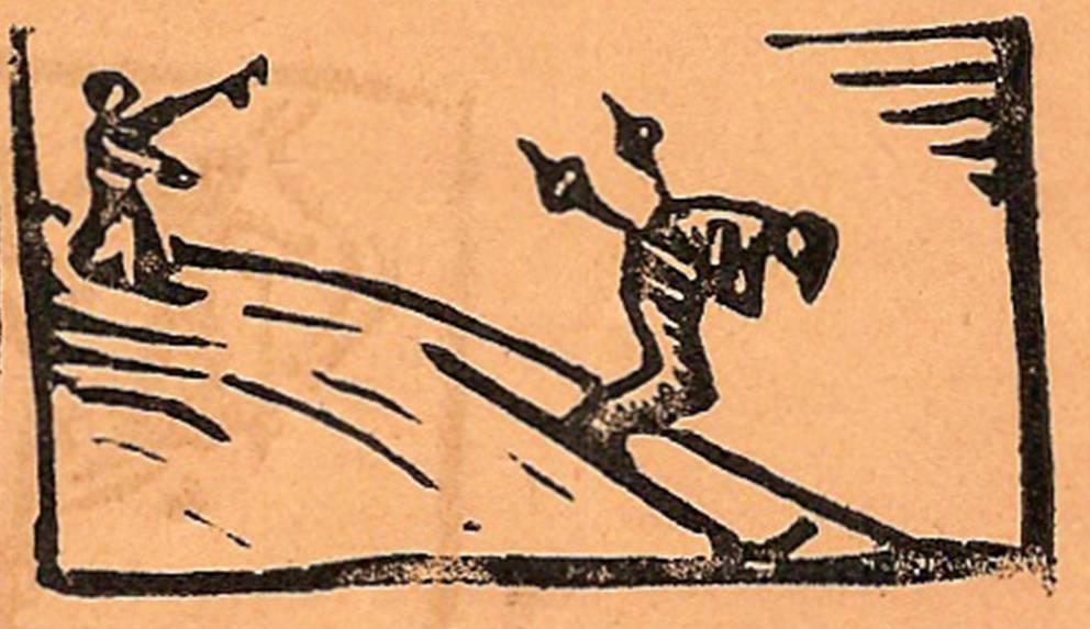 Linogravure du journal scolaire de Passy, « Face au Mont-Blanc », février-mars 1939, p. 9