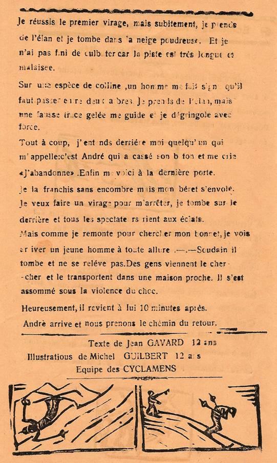 Journal scolaire de Passy, « Face au Mont-Blanc », février-mars 1939, p. 9, Un concours de ski qui finit mal, par Jean Gavard, 12 ans, illust. Michel Guilbert, 12 ans