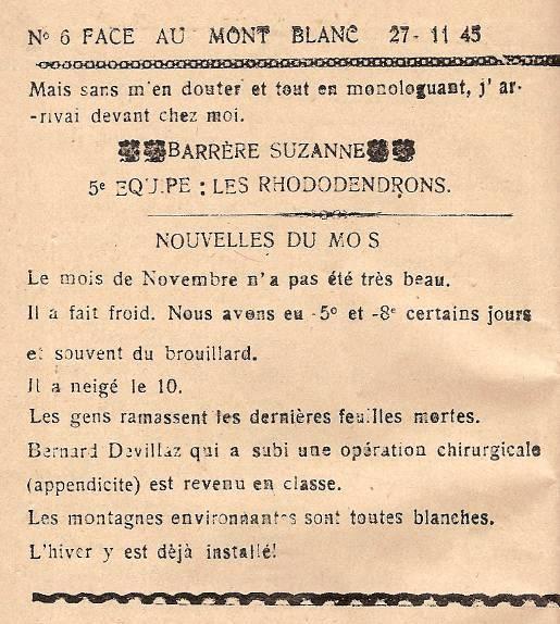 Journal scolaire de Passy, « Face au Mont-Blanc », novembre-décembre 1945 p. 1 Une belle culbute