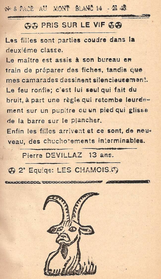 Journal scolaire de Passy, « Face au Mont-Blanc », novembre-décembre 1945, p. 3  Pris sur le vif, par Pierre Devillaz, 13 ans