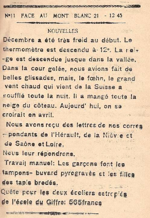 Journal scolaire de Passy, « Face au Mont-Blanc », novembre-décembre 1945, p. 5