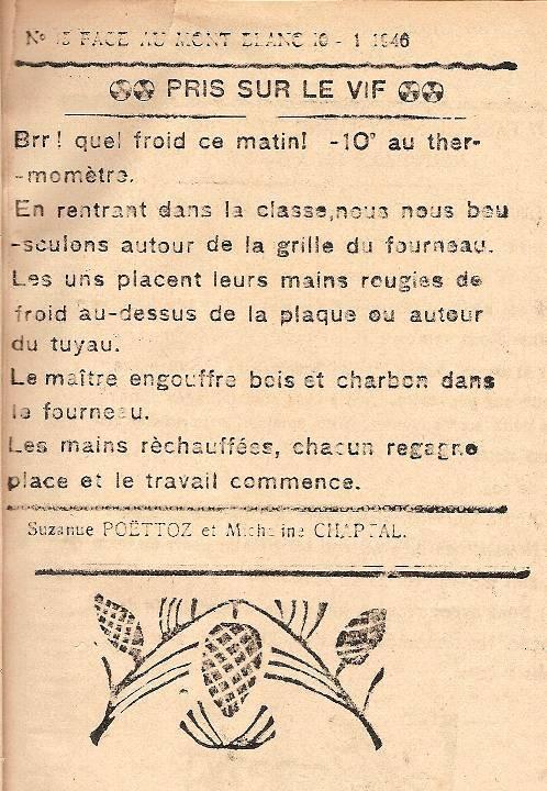 Journal scolaire de Passy, « Face au Mont-Blanc », janvier 1946, p. 1