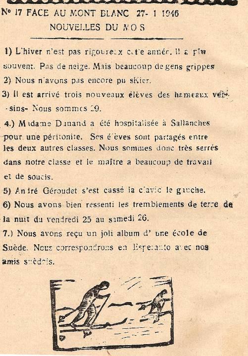 Journal scolaire de Passy, « Face au Mont-Blanc », janvier 1946, p. 2