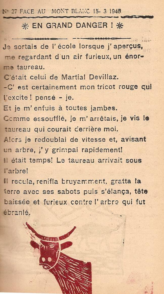 Journal scolaire de Passy « Face au Mont-Blanc », mars 1946, p. 3, En grand danger, par Jean-Louis Guyot, 12 ans ½