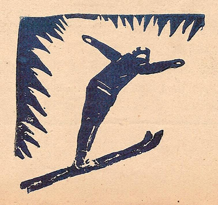 Linogravure du Journal scolaire de Passy, « Face au Mont-Blanc », mars-avril 1946 p. 9