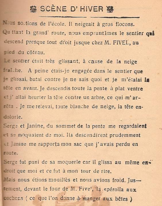 Journal scolaire de Passy, « Face au Mont-Blanc », décembre 1946, p. 11 Scène d'hiver, par Suzanne Poëttoz, 12 ans
