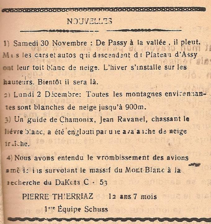Journal scolaire de Passy, « Face au Mont-Blanc », Décembre 1946, p. 1 Nouvelles, par Pierre Thierriaz, 12 ans 7 mois