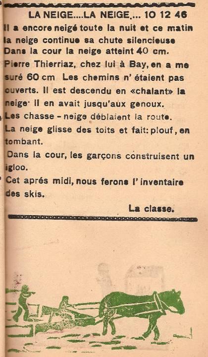 Journal scolaire de Passy, « Face au Mont-Blanc », décembre 1946, p. 5 La neige… la neige…, 10 déc. 1946