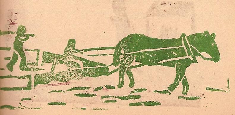 Linogravure du journal scolaire de Passy, « Face au Mont-Blanc », décembre 1946, p. 5