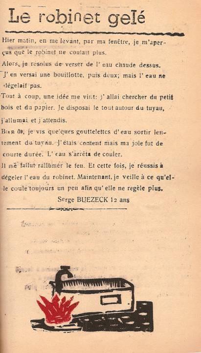 Journal scolaire de Passy, « Face au Mont-Blanc », janvier 1947, p. 13 Le robinet gelé, par Serge Buezeck, 12 ans