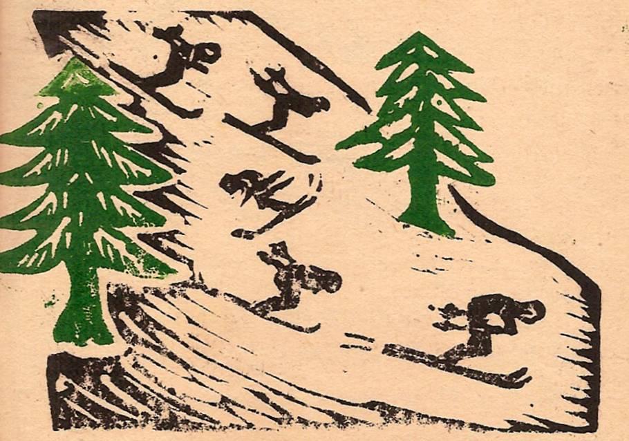 Linogravure du journal scolaire de Passy, « Face au Mont-Blanc », janvier 1947, p. 14-15 Page des correspondants