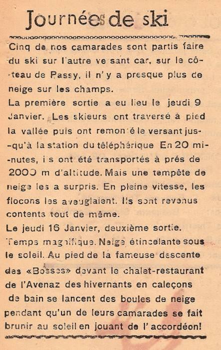 Journal scolaire de Passy, « Face au Mont-Blanc », janvier 1947, p. 5, Journées de ski