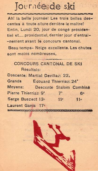 Journal scolaire de Passy, « Face au Mont-Blanc », janvier 1947, p. 6 Journées de ski
