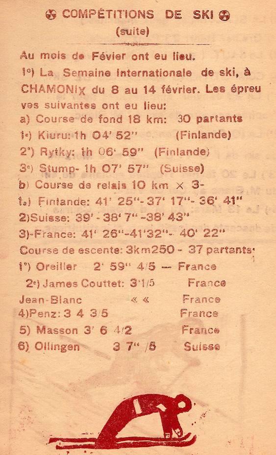 Journal scolaire de Passy, « Face au Mont-Blanc », février-mars 1947, p. 3 Compétitions de ski