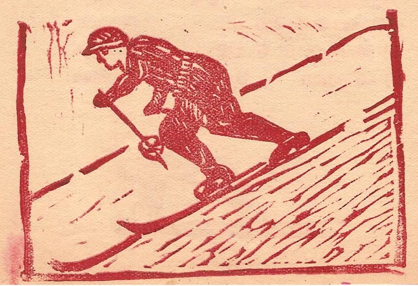Linogravure du journal scolaire de Passy, « Face au Mont-Blanc », février-mars 1947, p. 4