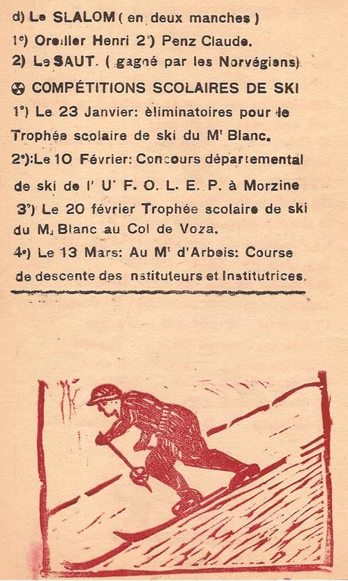 Journal scolaire de Passy, « Face au Mont-Blanc », février-mars 1947, p. 4 Compétitions de ski