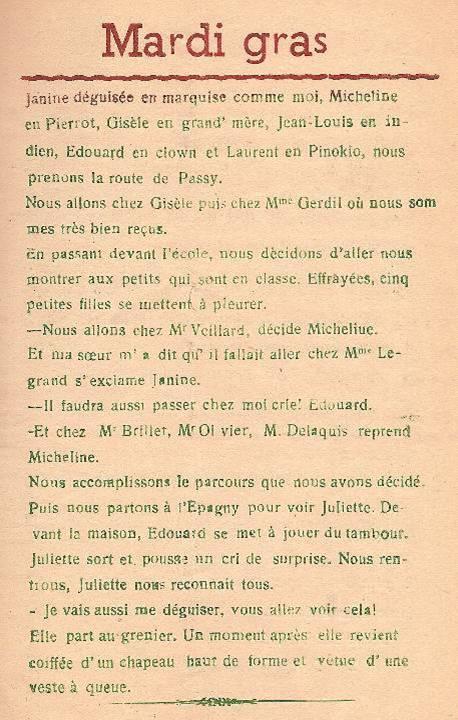 Journal scolaire de Passy, « Face au Mont-Blanc », février-mars 1947 p. 5 Mardi gras, par Marie-Thérèse Devillaz, 13 ans 3 mois