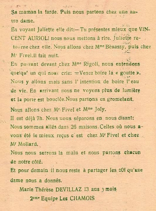 Journal scolaire de Passy, « Face au Mont-Blanc », février-mars 1947 p. 6 Mardi gras, par Marie-Thérèse Devillaz, 13 ans 3 mois
